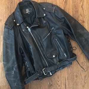 Vtg Rebel Riders Motorcycle biker jacket 48 XL